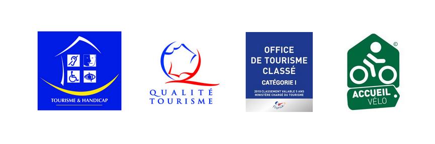 logos tourisme et handicap, qualité tourisme, catégorie 1, label vélo