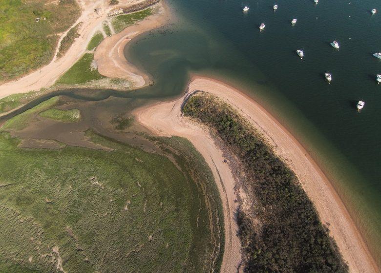 Vue aérienne de l'estuaire de l'Orne