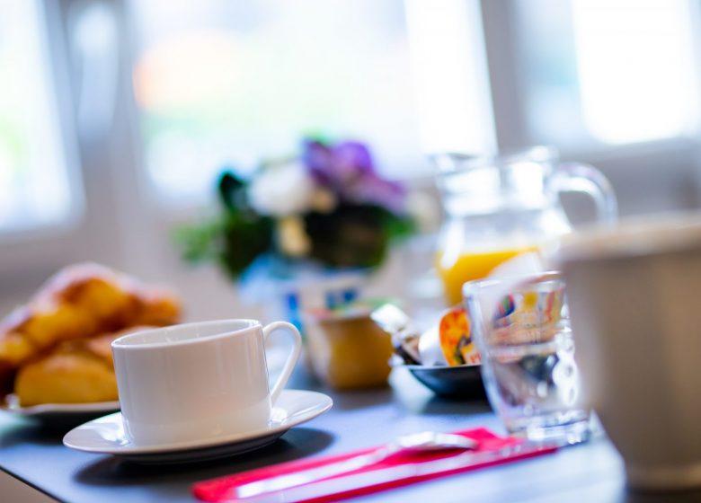 Hotel_du_chateau_caen salon petit dejeuner avec vue sur la tasse+