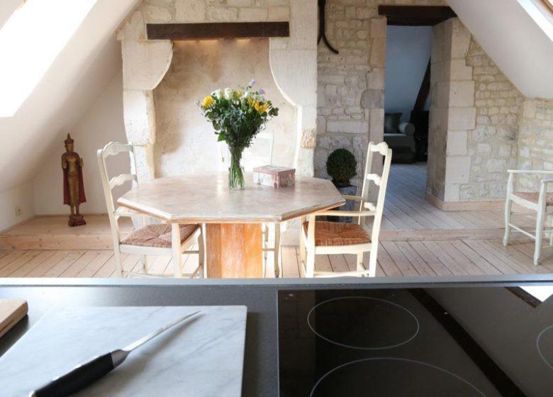 Le Loft à Caen, séjour-cuisine